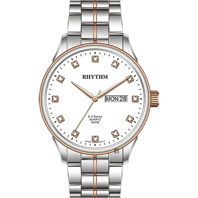 RHYTHM日本麗聲 S.V.Series晶鑽日曆手錶-白x雙色版/40mm