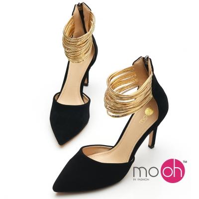 mo.oh-金色拉鍊繞帶高跟涼鞋-黑金色