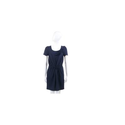 MOSCHINO 深藍色立體花飾綁帶短袖洋裝