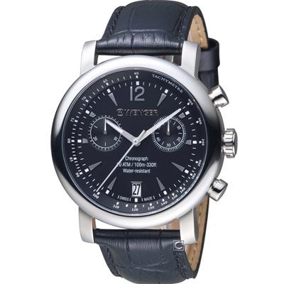 WENGER 都會系列雅痞風範計時腕錶(01.1043.112)黑/44mm