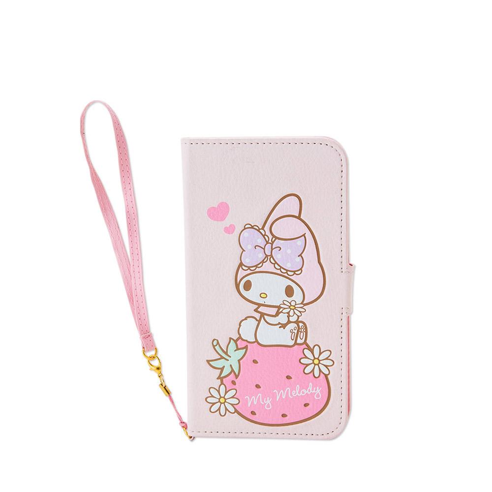 Sanrio 美樂蒂iPhone6 Plus折式PU皮革保護套附吊鍊(粉草莓)