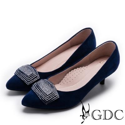 GDC-時尚質感方形鑽釦真皮低跟尖頭鞋-藍色