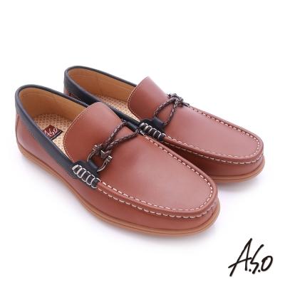 A.S.O 3D超動能 苯染牛皮直套式低筒帆船鞋 茶色