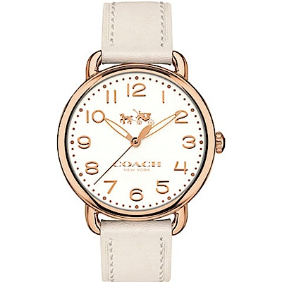 COACH 復古圓形白色女腕錶/14502716