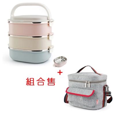 PUSH! 餐具用品小麥秸杆防燙3層不鏽鋼內膽便當盒附保溫袋-3色E91-1