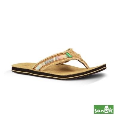 SANUK 復古麂皮人字拖鞋-男款(褐色)