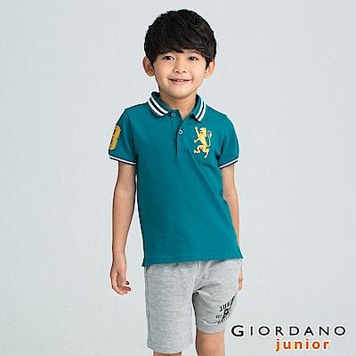 GIORDANO  童裝勝利獅王3D刺繡短袖POLO衫-27 溼地綠