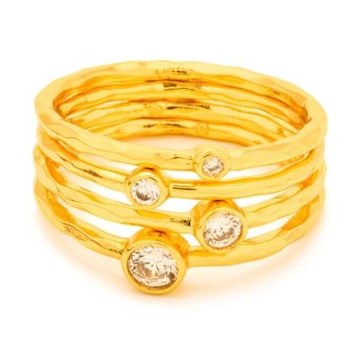 GORJANA SHIMMER STACKING 金色四環戒 圓形單鑽 可分開配戴