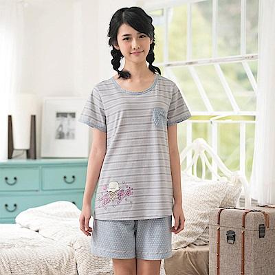 華歌爾Pretty Amy 夏日樂趣條紋 M-L 短袖家居服(灰藍)