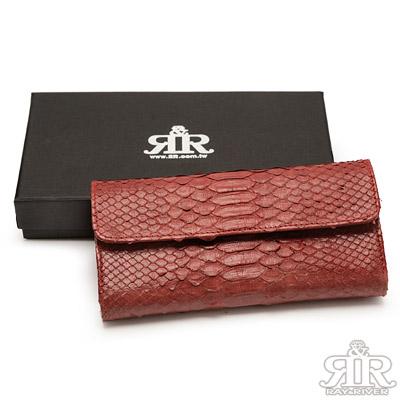2R-珍稀蟒蛇皮-限量訂製三摺長夾-巴黎紅