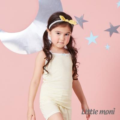 Little moni 涼感系列條紋兒童細肩帶背心 黃色