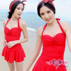 天使霓裳 戀夏假期泳衣 一件式連身款(紅M~2L)