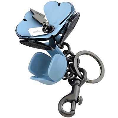 COACH 藍黑雙色大C PVC立體花朵造型鑰匙圈掛飾