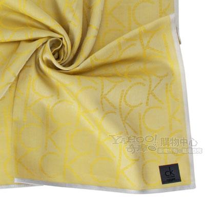 Calvin Klein 滿版LOGO純棉帕巾-黃