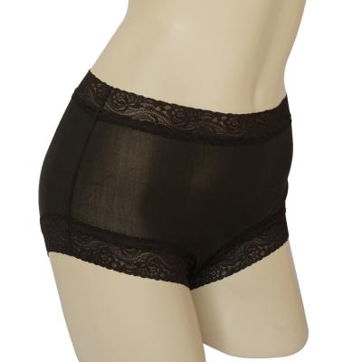 內褲 100%蠶絲蕾絲平口內褲M-XXL(黑) Seraphic