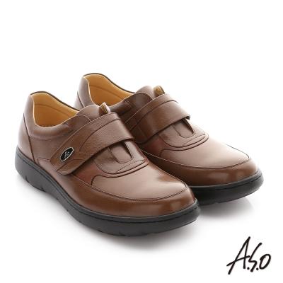 A.S.O 職場通勤 壓紋牛皮魔鬼氈氣墊紳士皮鞋 咖啡色