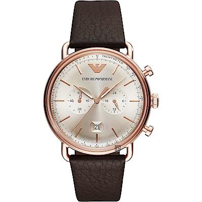 Emporio Armani Dress 亞曼尼計時手錶-金x咖啡/43mm