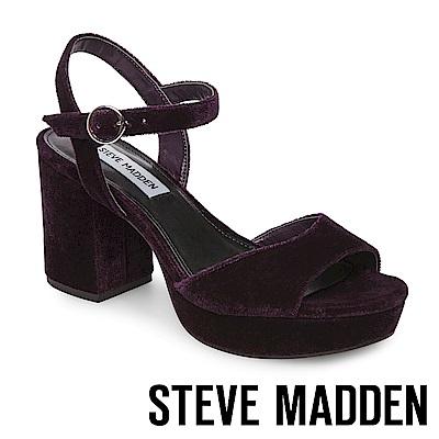 STEVE MADDEN-SPINNER 細踝帶厚底防水台粗跟涼鞋-絨紫