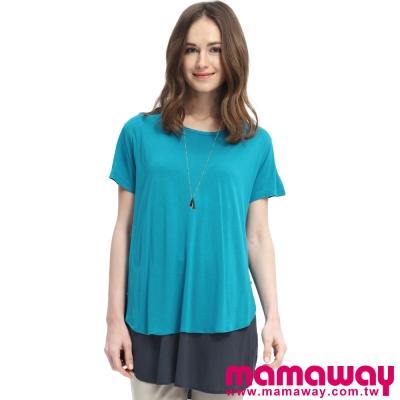Mamaway-大圓弧下擺雙色孕婦裝-哺乳衣-共二