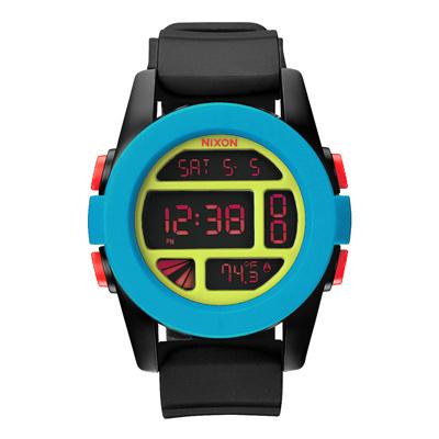 NIXON The UNIT率性概念雙時區運動錶-藍框紅字x黑膠帶/46mm