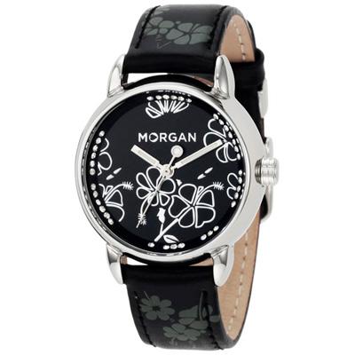 MORGAN 花樣晶鑽時尚腕錶-銀框x黑32mm