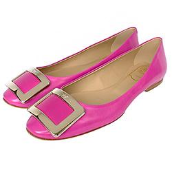 Roger Vivierr桃紅色質感真皮經典金屬方框裝飾低跟鞋