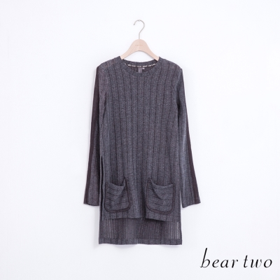 beartwo-休閒款前短後長雙口袋針織上衣-共二色
