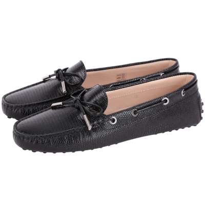 TOD'S Rubber Driving蜥蜴壓紋牛皮綁帶豆豆休閒鞋(女鞋/黑色)