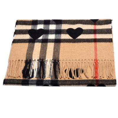 BURBERRY 經典格紋心型印花喀什米爾羊毛圍巾(黑X駝色)