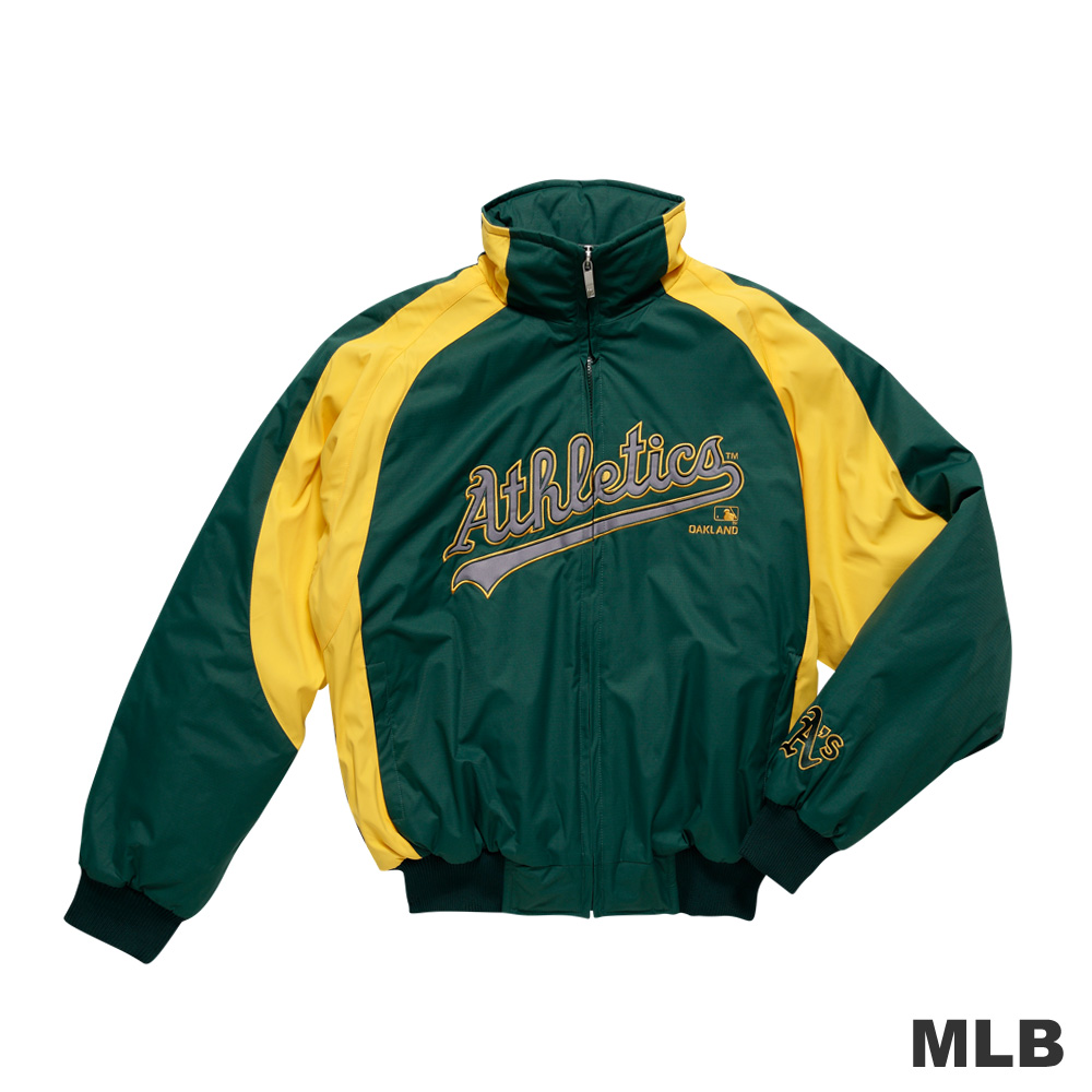 MLB-奧克蘭運動家隊撞色立領內刷毛棒球外套-深綠色(男)