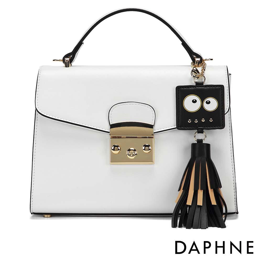 達芙妮DAPHNE-表情造型流蘇吊飾手提斜背小方包-白