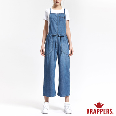 BRAPPERS 女款 Boy Friend 系列-女用超寬版吊帶褲-淺藍