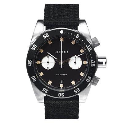 ELECTRIC DW02系列-時尚雙眼設計計時腕錶-黑面x黑圈/44.5mm