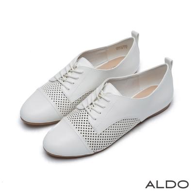 ALDO-原色菱格鏤空幾何拼接綁帶平底便鞋-清新白色