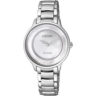 CITIZEN L系列 珍愛時刻光動能女錶(EM0380-57D)-白貝/30mm