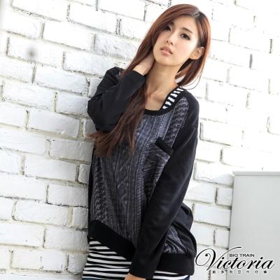 Victoria 仿真線衫印花上衣-女-黑