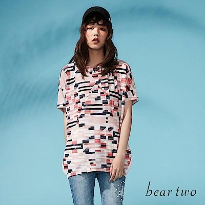 beartwo 幾何圖案彩紋寬型上衣(二色)