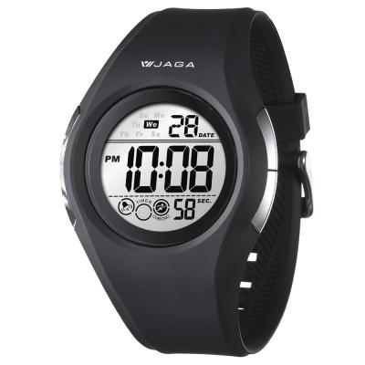 JAGA 捷卡 運動休閒多功能運動電子錶-黑/30mm
