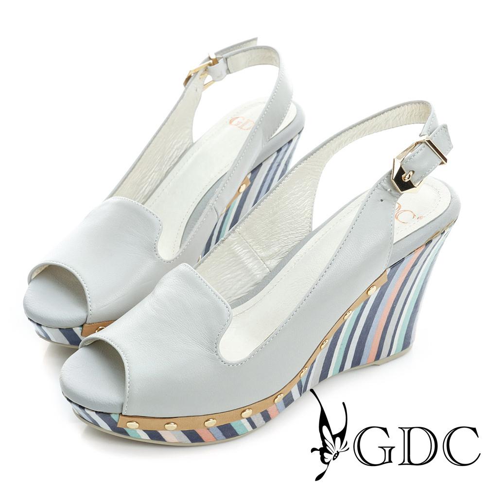 GDC-羊皮鉚釘真皮楔型魚口高跟鞋-灰色
