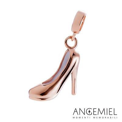 Angemiel安婕米串珠 925純銀吊飾 玫瑰金高跟鞋