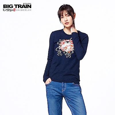 BIG TRAIN 福貓達摩長袖-女-深藍