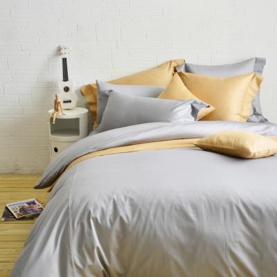 Cozy inn 極致純色-淺灰-300織精梳棉四件式被套床包組(加大)