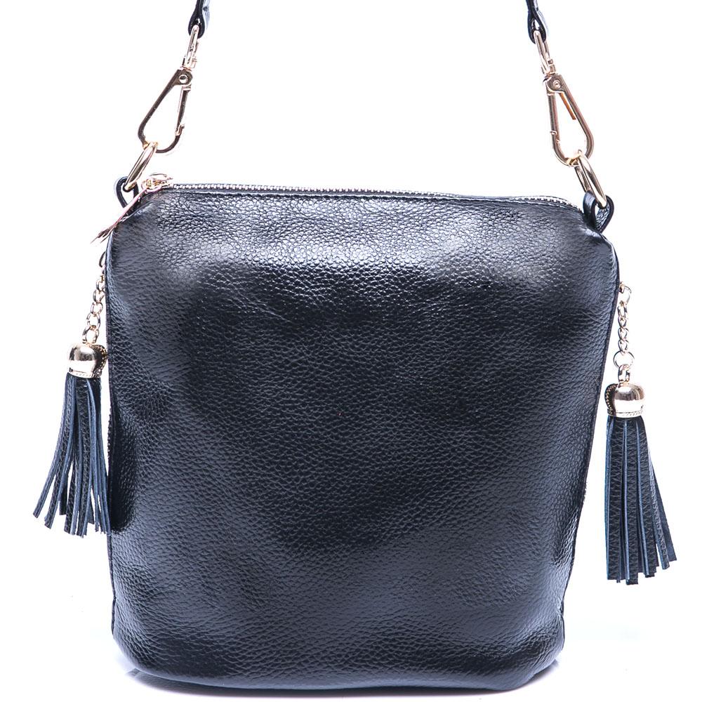 DF Flor Eden 完美心機小巧真皮款2用側肩包-時尚黑