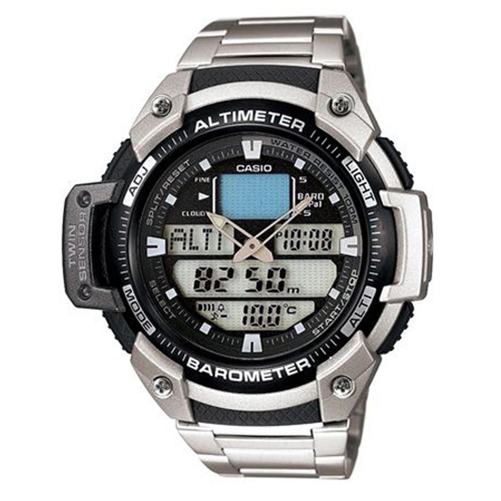CASIO 新機能戶外雙顯不鏽鋼運動錶(SGW-400HD-1B)-51.9mm