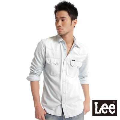 Lee-101牛仔合身襯衫-男款-水藍