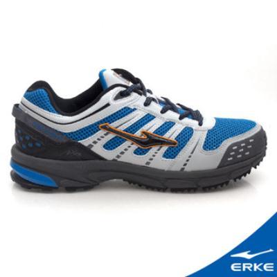 ERKE 鴻星爾克。男運動登山越野跑鞋-淺灰/彩藍