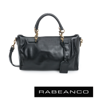 RABEANCO-真牛皮革手提肩背長方包-黑
