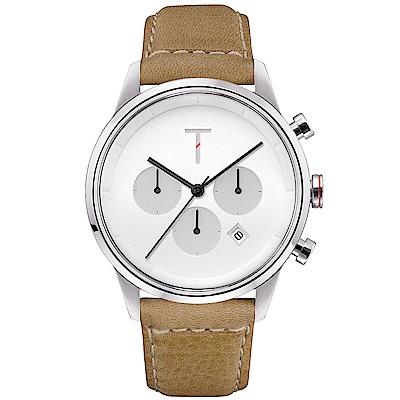 TYLOR 風尚三眼計時皮革手錶-白X卡其/43mm