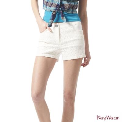 KeyWear奇威名品-時尚俏麗拼接蕾絲經典短褲