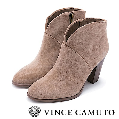 Vince Camuto V型剪裁復古粗跟靴-絨灰